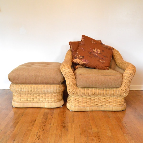 Ficks reed wicker weave chair and ottoman ebth for Wicker reed