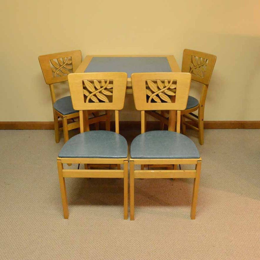 Vintage Stakmore Card Table With Folding Chairs