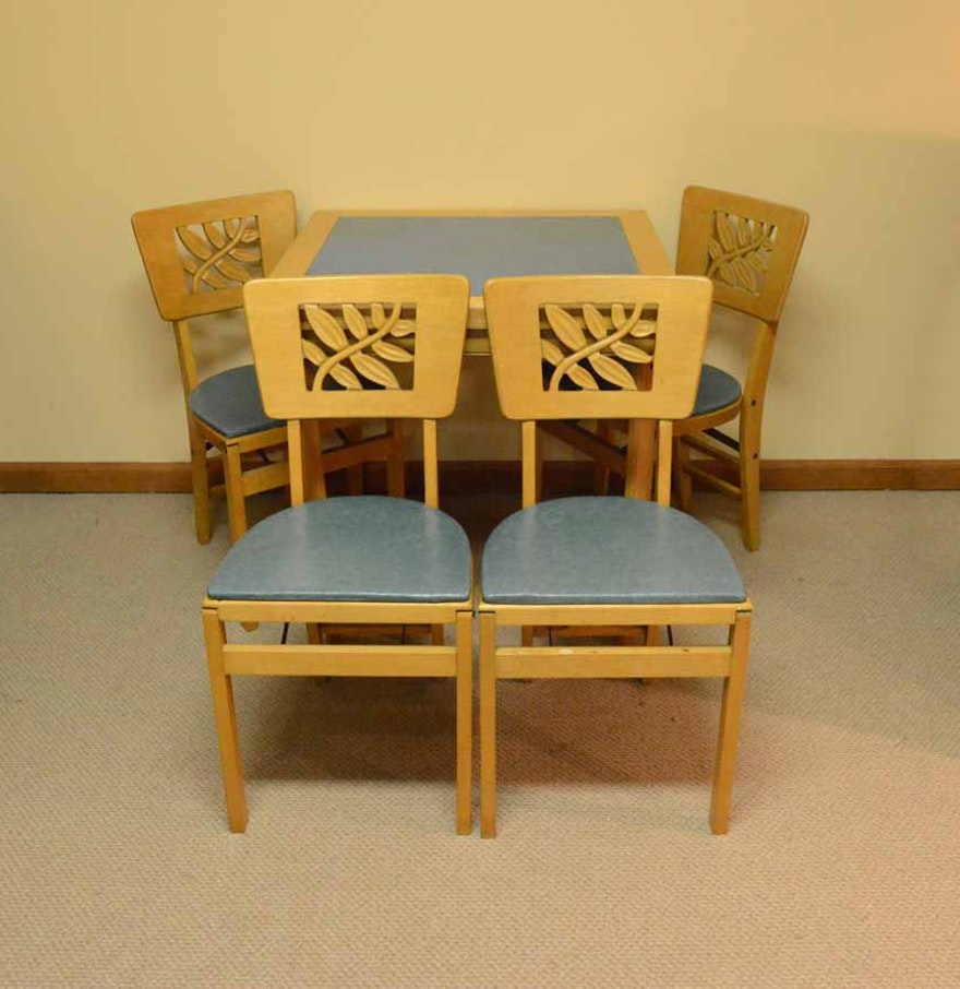 Vintage Stakmore Card Table With Folding Chairs Ebth