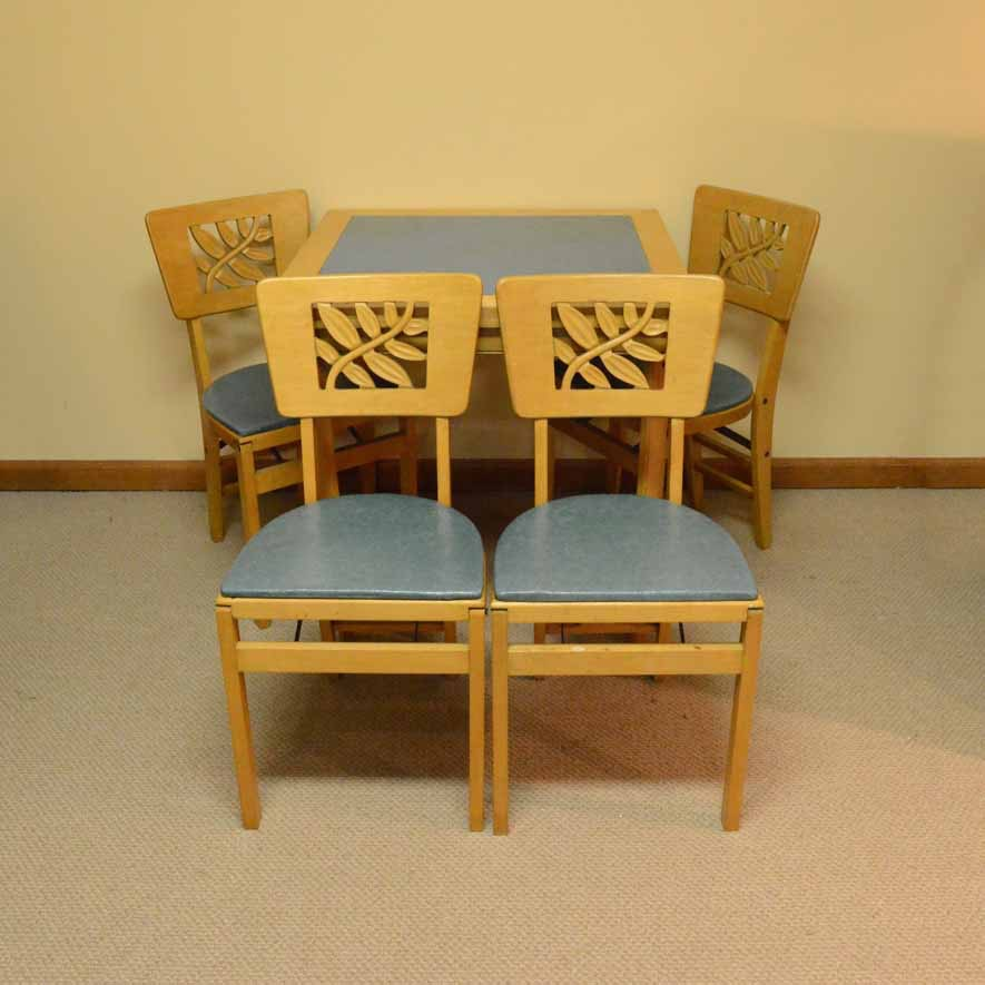 Vintage Stakmore Card Table With Folding Chairs ...