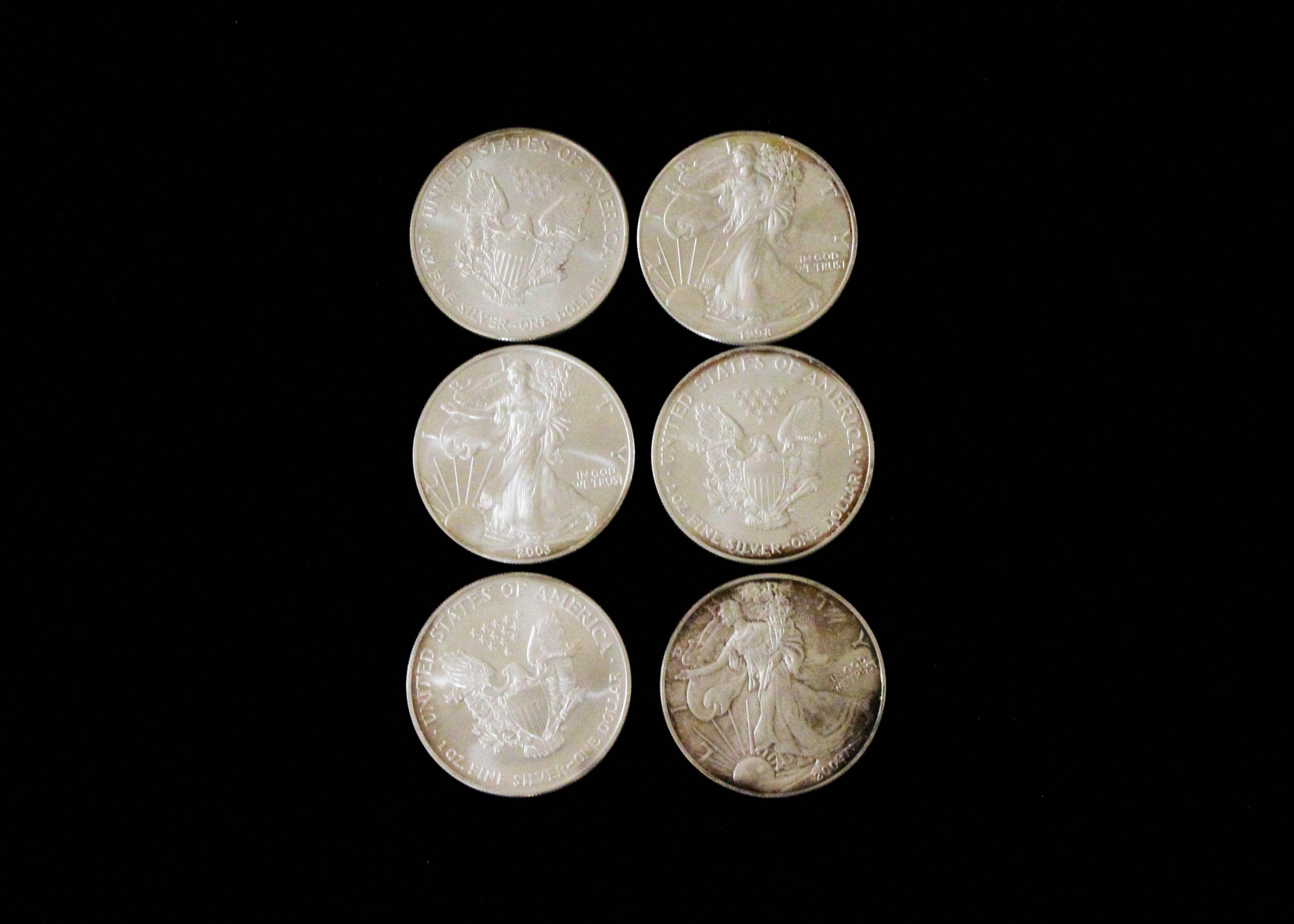 Set Of Six Fine Silver Liberty Dollars Ebth