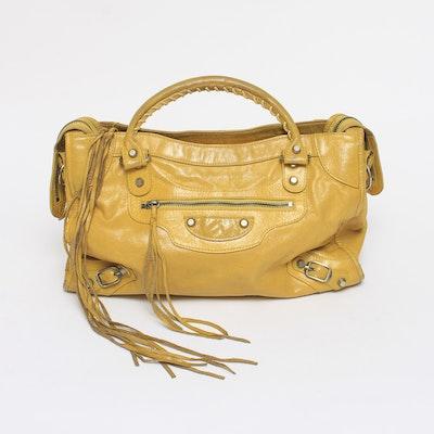 Balenciaga Twiggy Yellow Leather Handbag