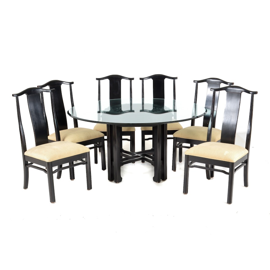 An Asian Style Dining Table And Chairs By Bernhardt Composed Of Cherry Wood The Features Carved Painted Landscapes To Top