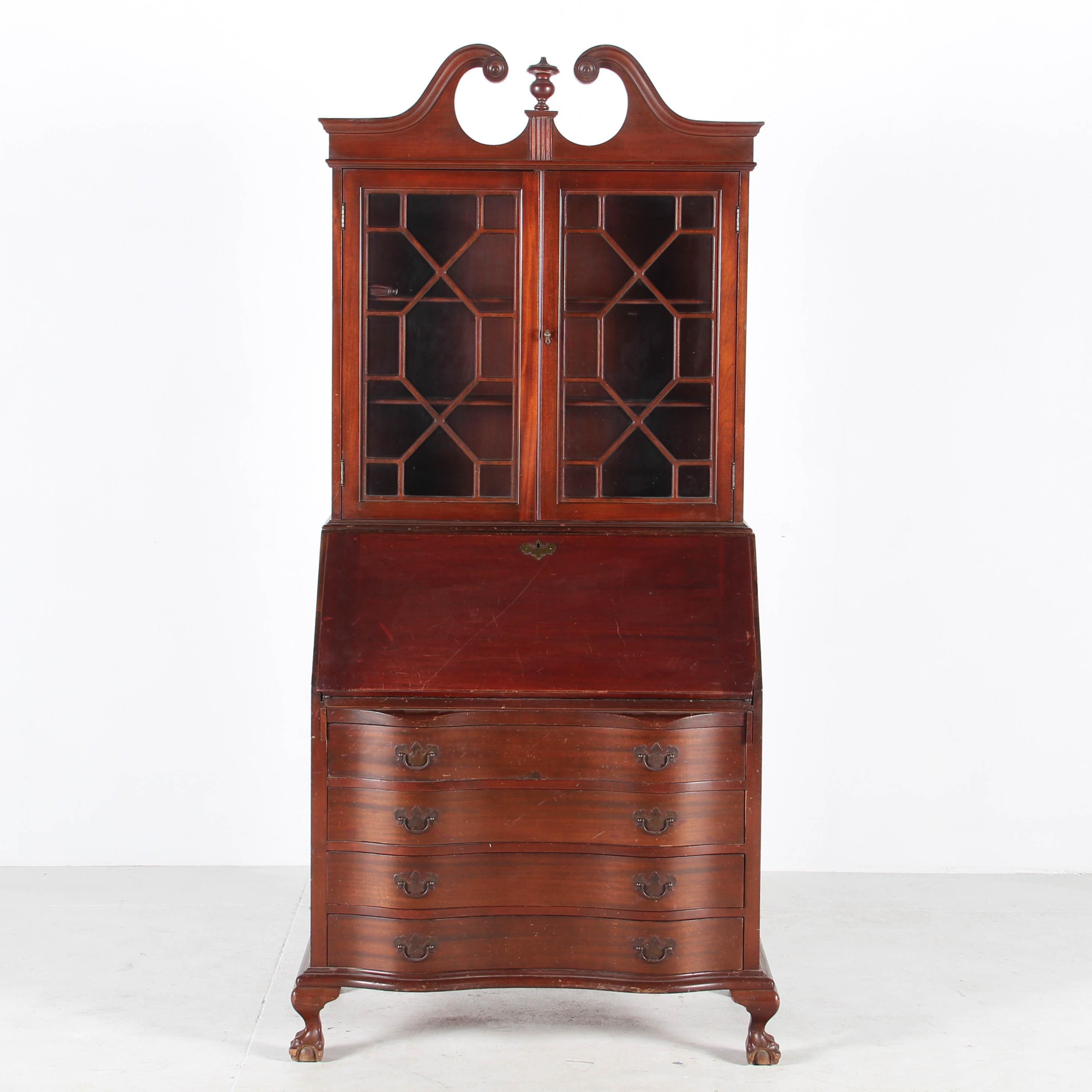 Chippendale Style Mahogany Secretary Desk From Maddox