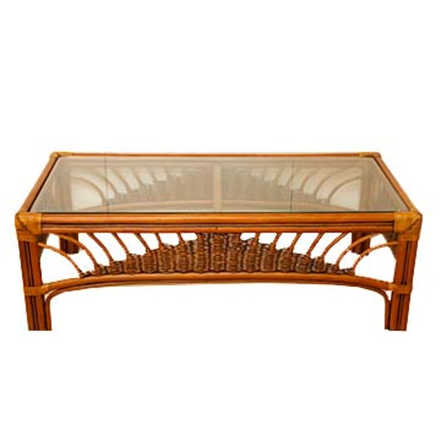 Casual Rattan Coffee Table: Leader's Bamboo And Rattan Wicker-Woven Glass Top Coffee