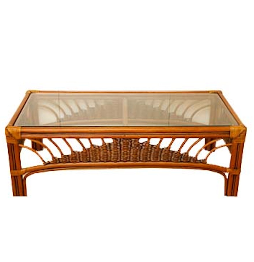 Wicker Coffee Table With Glass Top: Leader's Bamboo And Rattan Wicker-Woven Glass Top Coffee