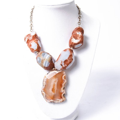 Drusy Agate Stone Statement Necklace