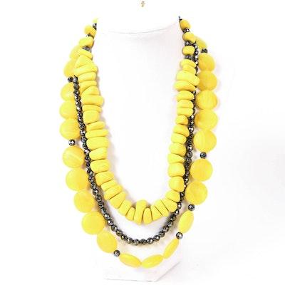 Linda Feld Hematite and Yellow Glass Beaded Necklace