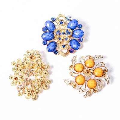 Trio of Vintage Gold-Tone Brooches