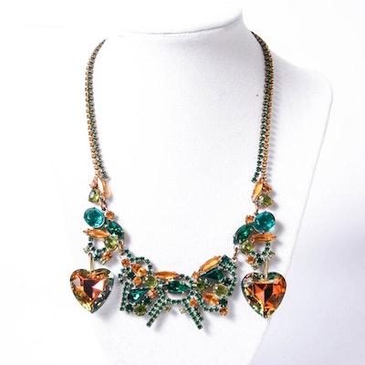 Vintage Lilien Czech Heart Necklace