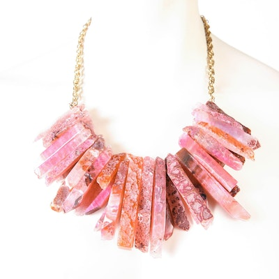 Double Layered Pink Agate Spike Necklace