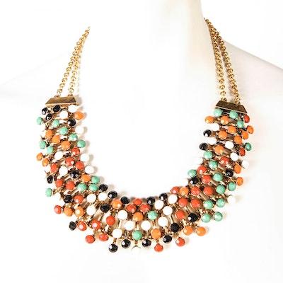Vintage Multicolored Bib Necklace
