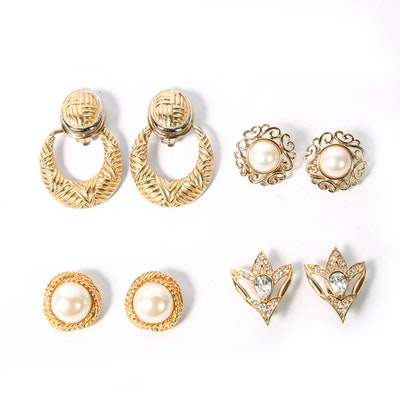 Collection of Gold Tone Vintage Clip-on Earrings
