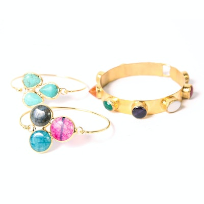 Gold Tone Bracelets with Multi-Colored Stones from Turkey