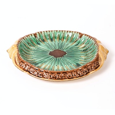 Antique Majolica Wheat Tray with Mottos