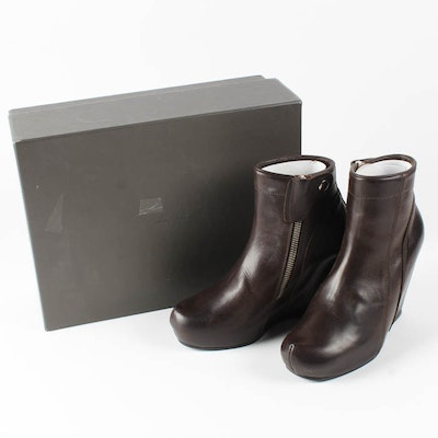"""New """"Scarpa Wedge"""" Brown Leather Wedge Boots by Rick Owens"""