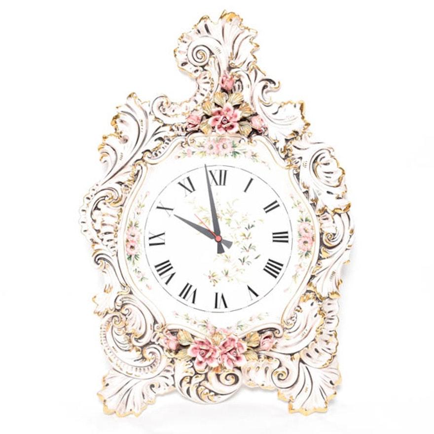 Porcelain Italian Capodimonte Style Wall Clock : EBTH