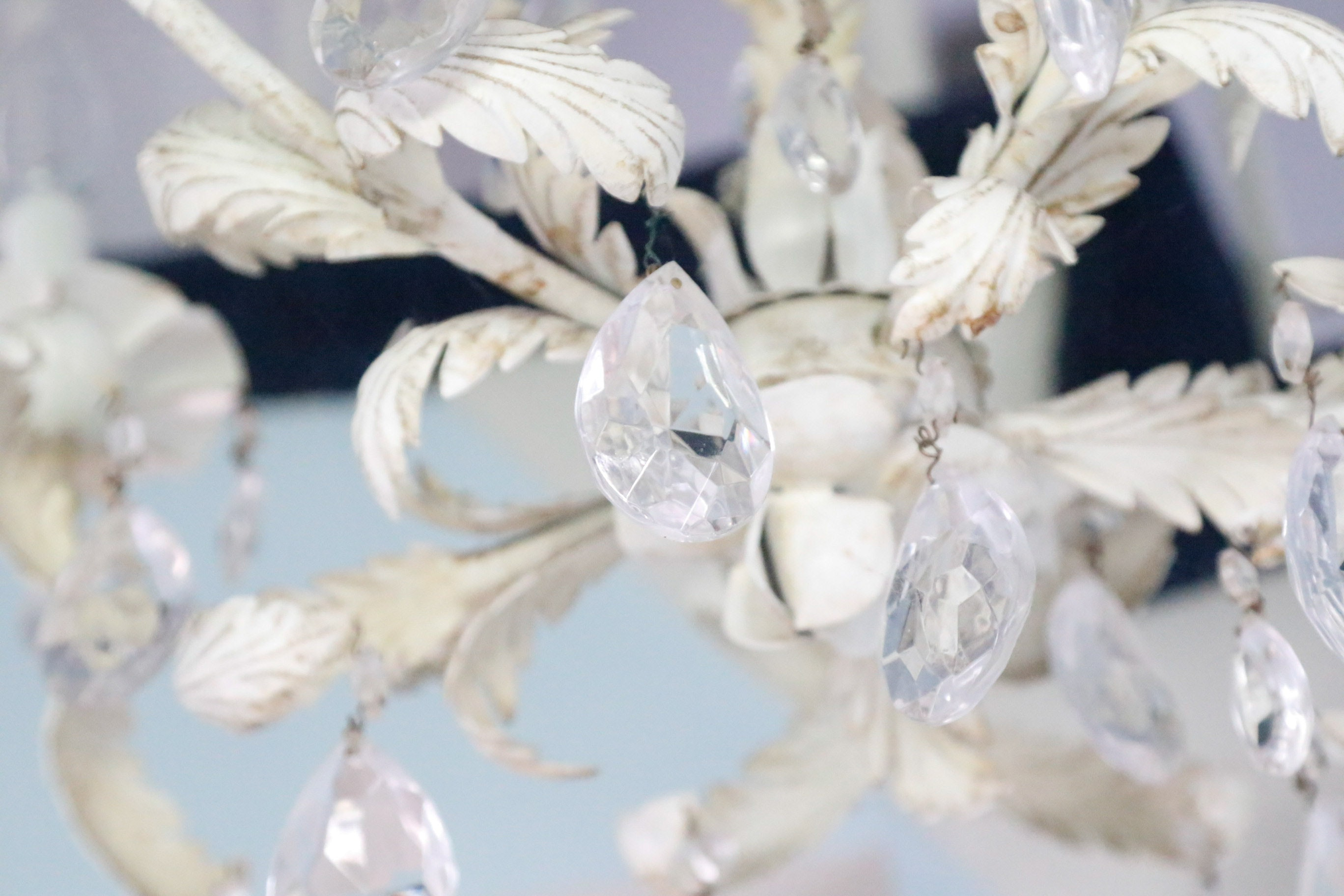 Tole Painted Crystal Chandelier Ebth