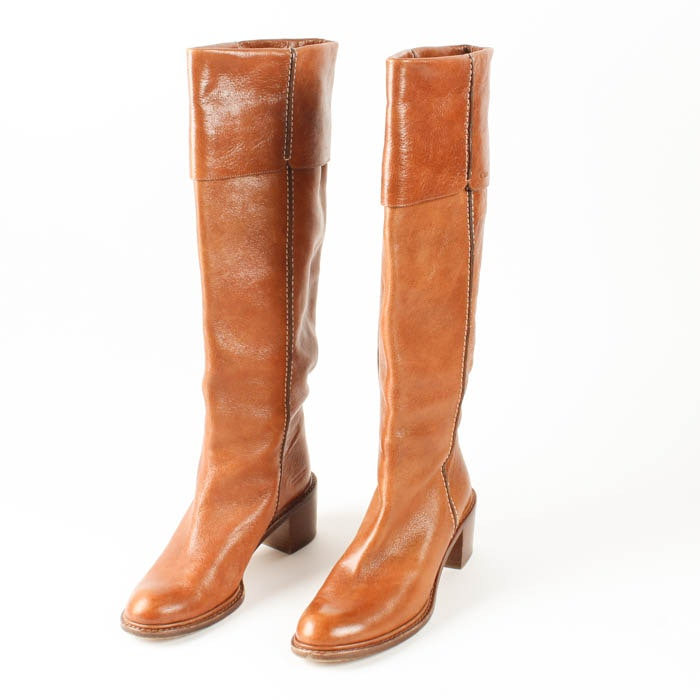 pair of brown leather chlo 233 calf length boots ebth