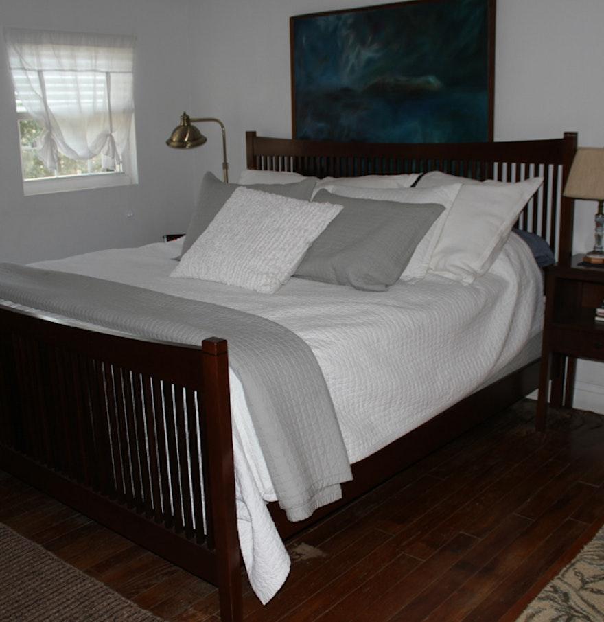 stickley cherry king size bed frame ebth. Black Bedroom Furniture Sets. Home Design Ideas