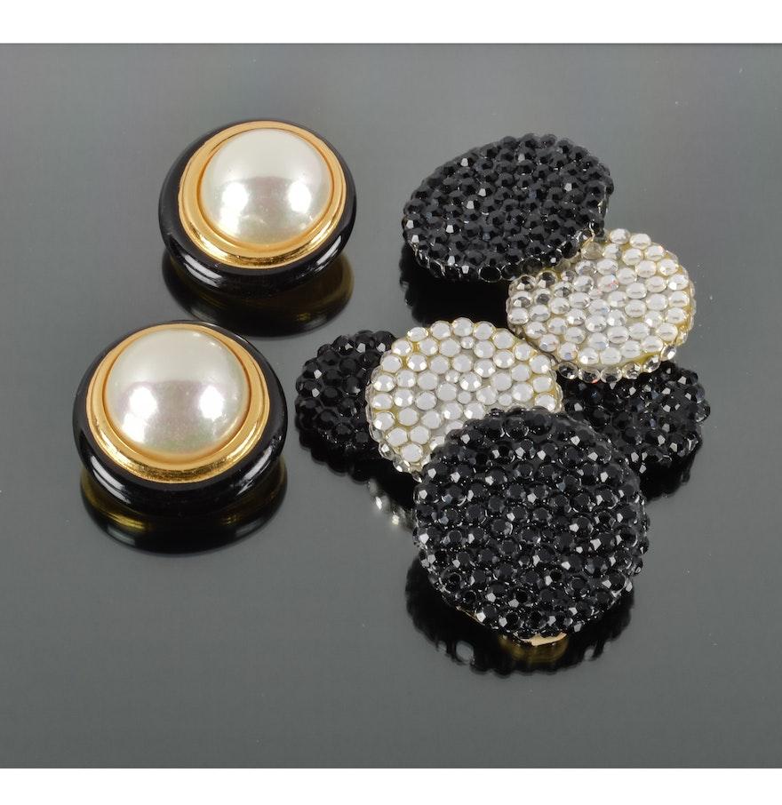 Christian Dior And Richard Kerr Goldtone Faux Pearl And Black Rhinestone  Earrings