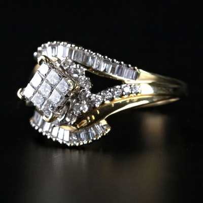 14K Yellow Gold Diamond Split Shank Bypass Ring