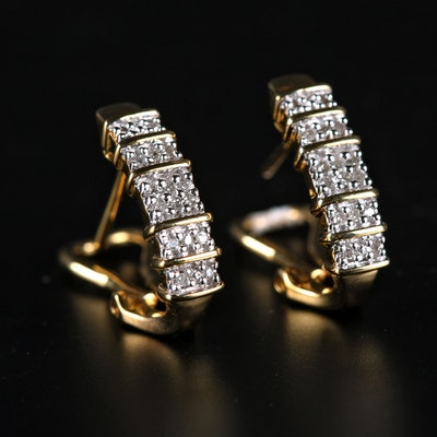 Pair of Sterling Silver and Diamond Latch Back Earrings with Gold Wash Finish