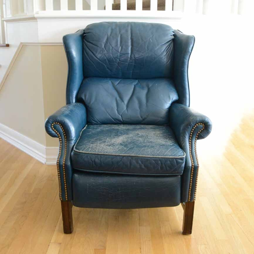 green leather wingback recliner