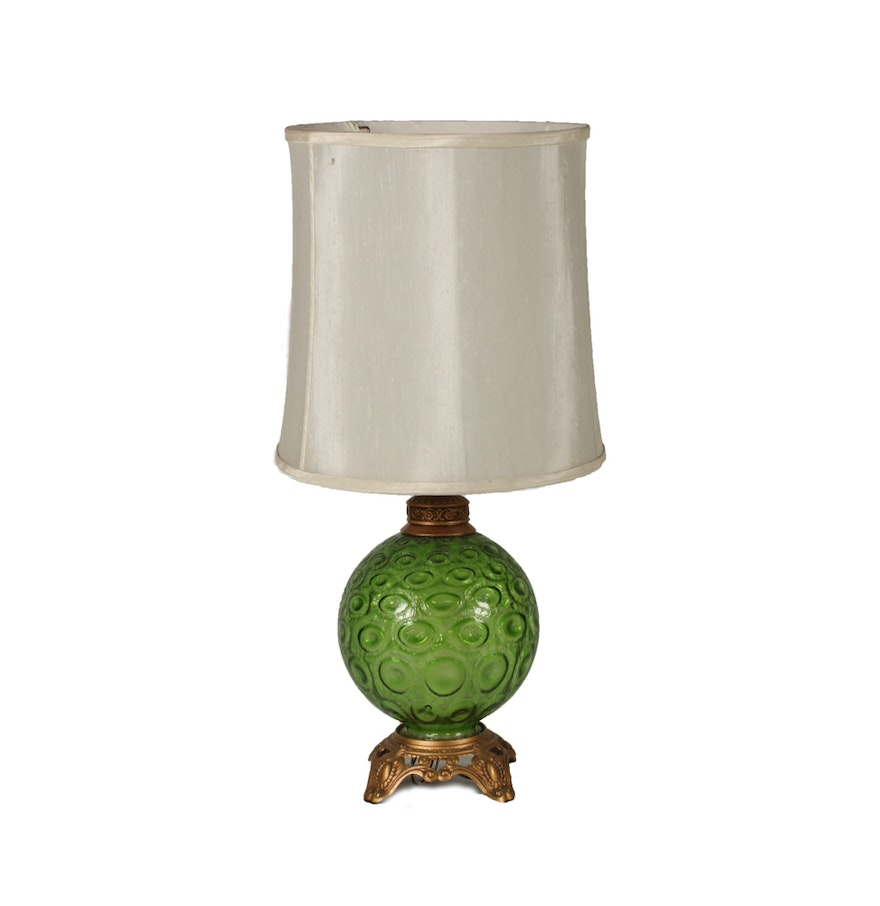 Vintage 1960s Crackle Glass Table Lamp Ebth