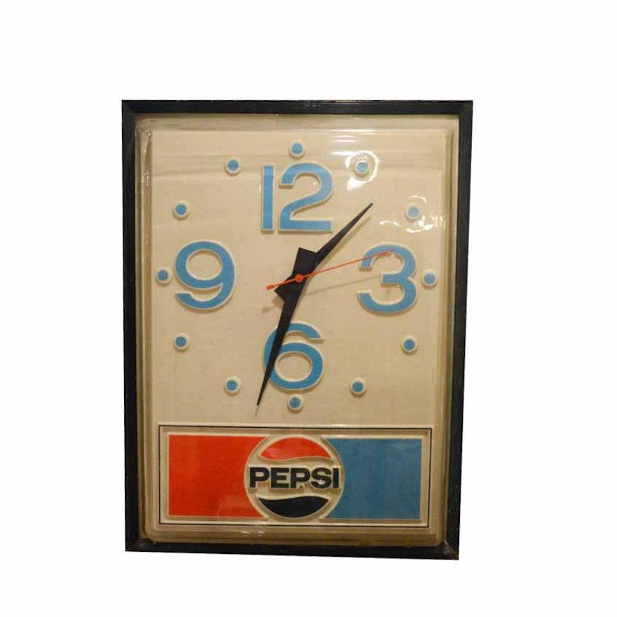Vintage Pepsi Wall Clock Ebth