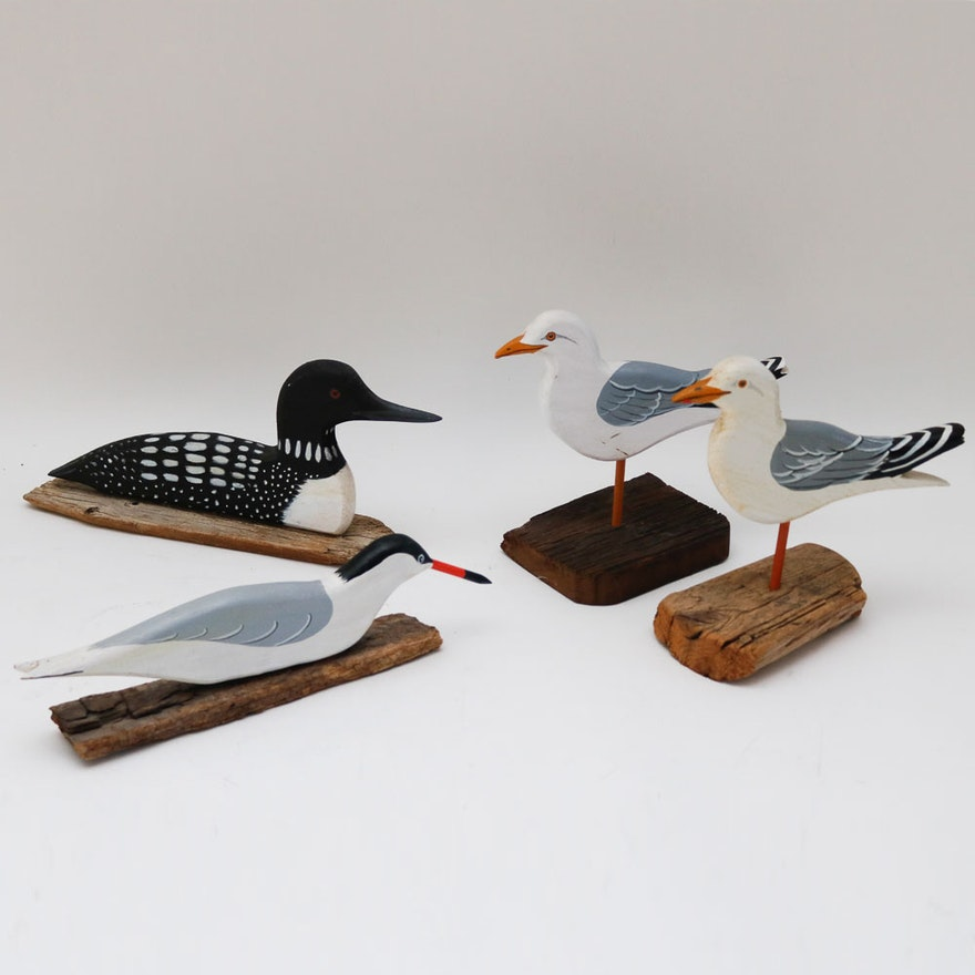 Collection of early carvings of wooden birds by ira frost : ebth