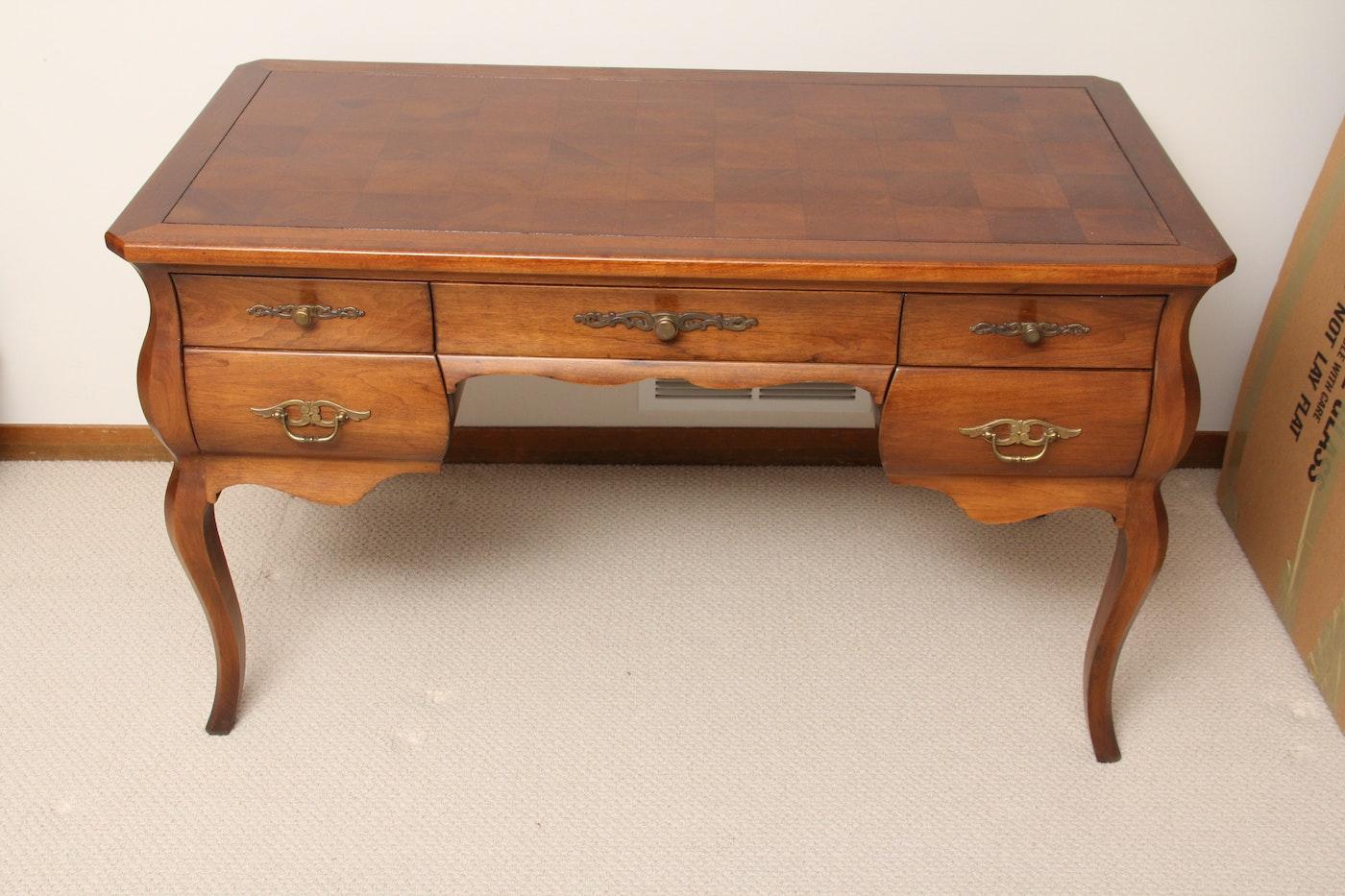 Traditional Butternut Kneehole Desk Ebth