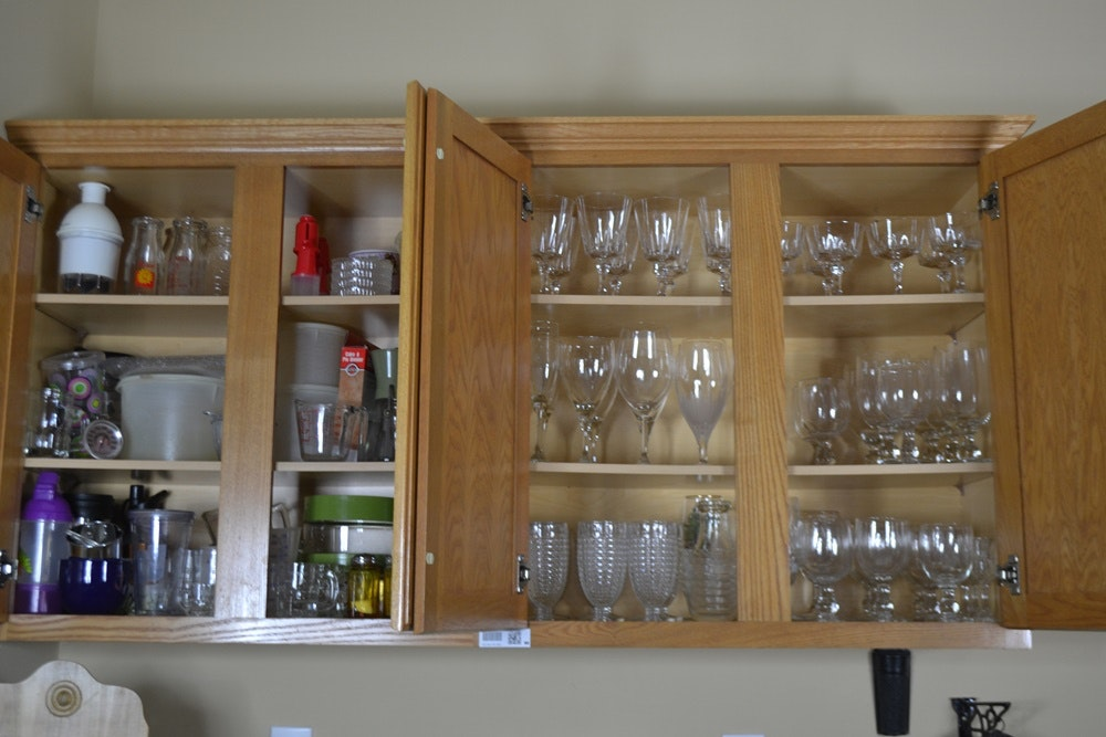 Two Cabinets Of Glassware And Kitchen Items ...