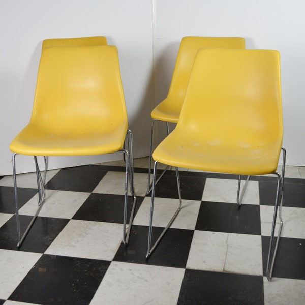 Four MId Century Modern Molded Plastic Chairs by Kreuger Green Bay