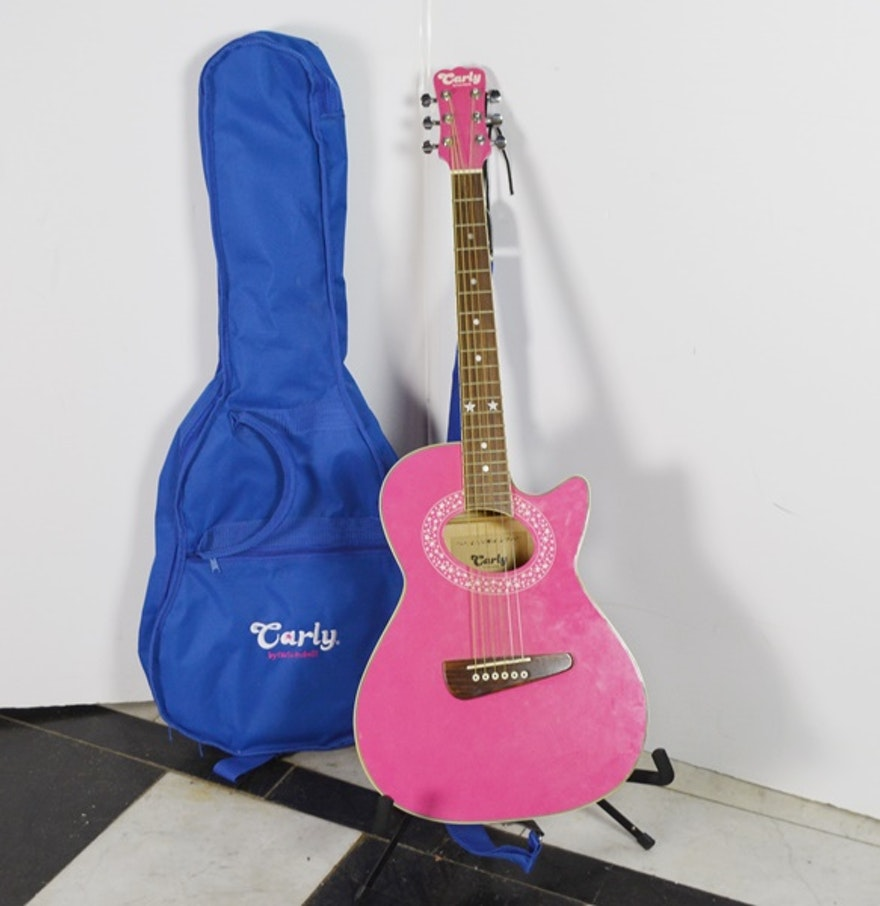 Hot Pink Carlo Robelli Carly Acoustic Guitar and Soft Blue ...