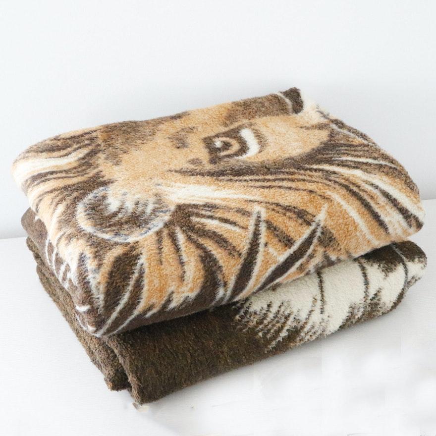 Pair Of Vintage German Lion And Tiger Reversible Wool Throw Blankets Enchanting Lion Blanket Or Throw