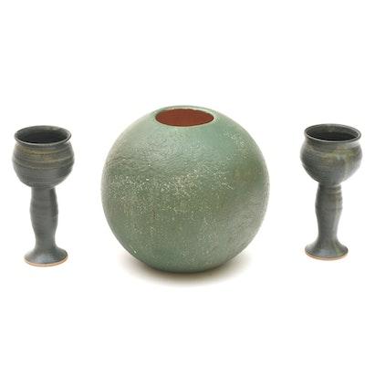 Hand-Made Ceramic Vase and Goblets