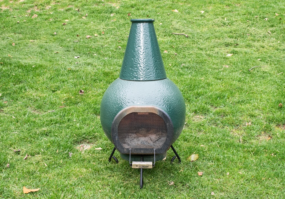 Elegant The Big Green Egg Chiminea And Stand ...