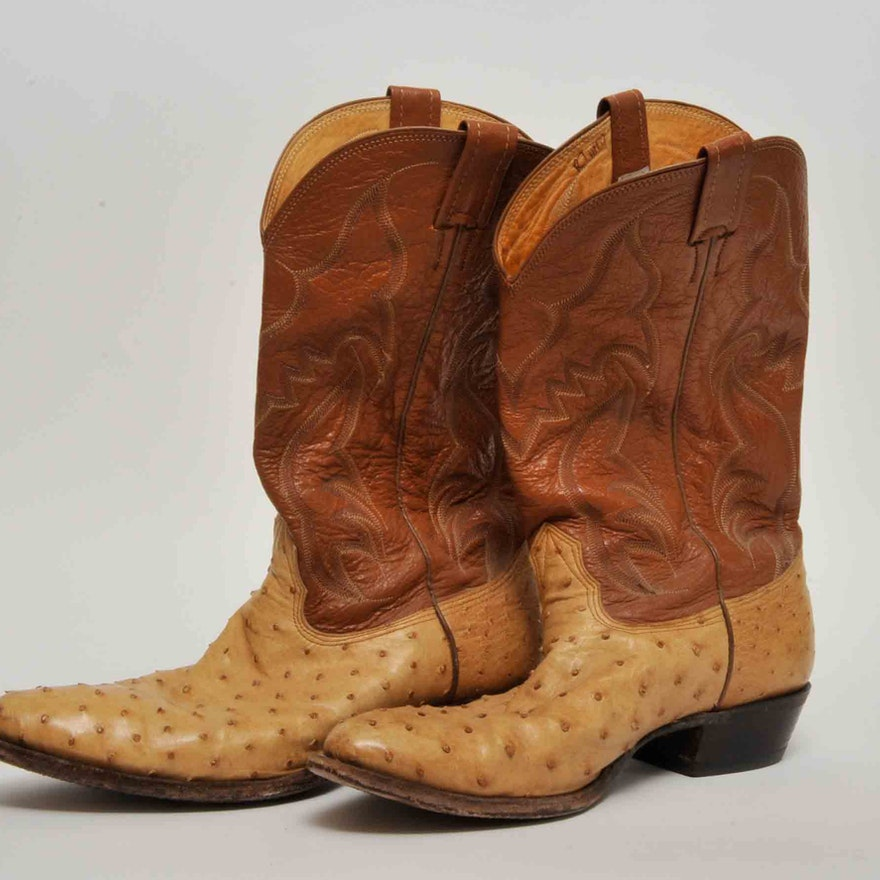 8043c3071b1 Men's Nocona Ostrich Skin and Leather Boots