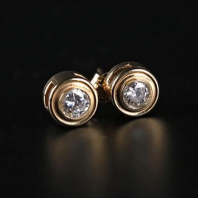 Pair of Round Cut Diamond Earrings in 14K Gold Setting