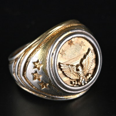 Men's Sterling Silver and 10K Gold Plated Insignia Ring