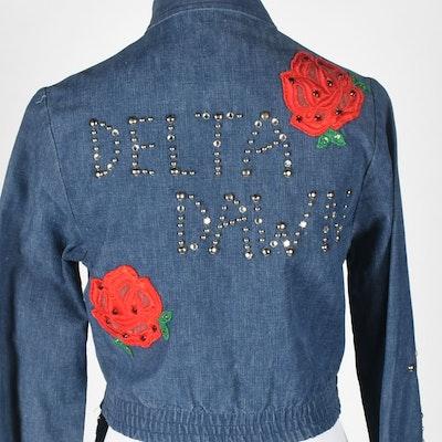 """70s Vintage """"Delta Dawn"""" Embellished and Bejeweled Denim Ensemble"""