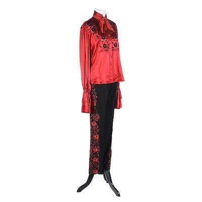 Manuel Custom Made Embroidered Blouse and Pants Embellished with Swarovski Crystal Rhinestones