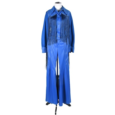 70s Vintage Western Dress Stage Ensemble in Blue with Fringe and Rhinestones