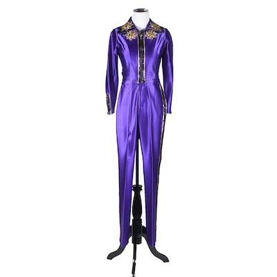 "Vintage Bojeongles Originals Embellished Purple Spandex Stage Ensemble Tanya Wore on ""Tanya Tucker, Live"" Album Cover"