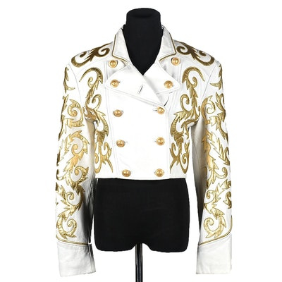 Michael Hoban of North Beach Leather White Leather Jacket with Gold Metallic Scrolls
