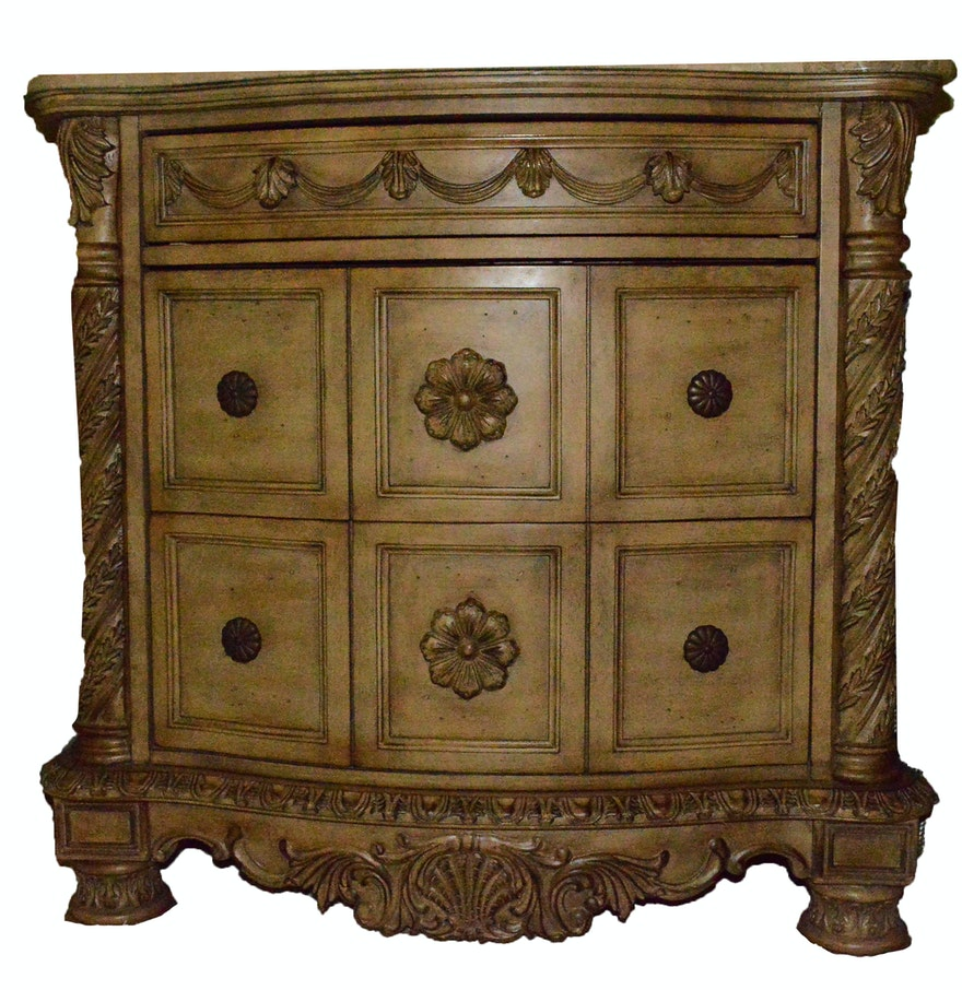 Bisque Marble Top Night Stand Ebth