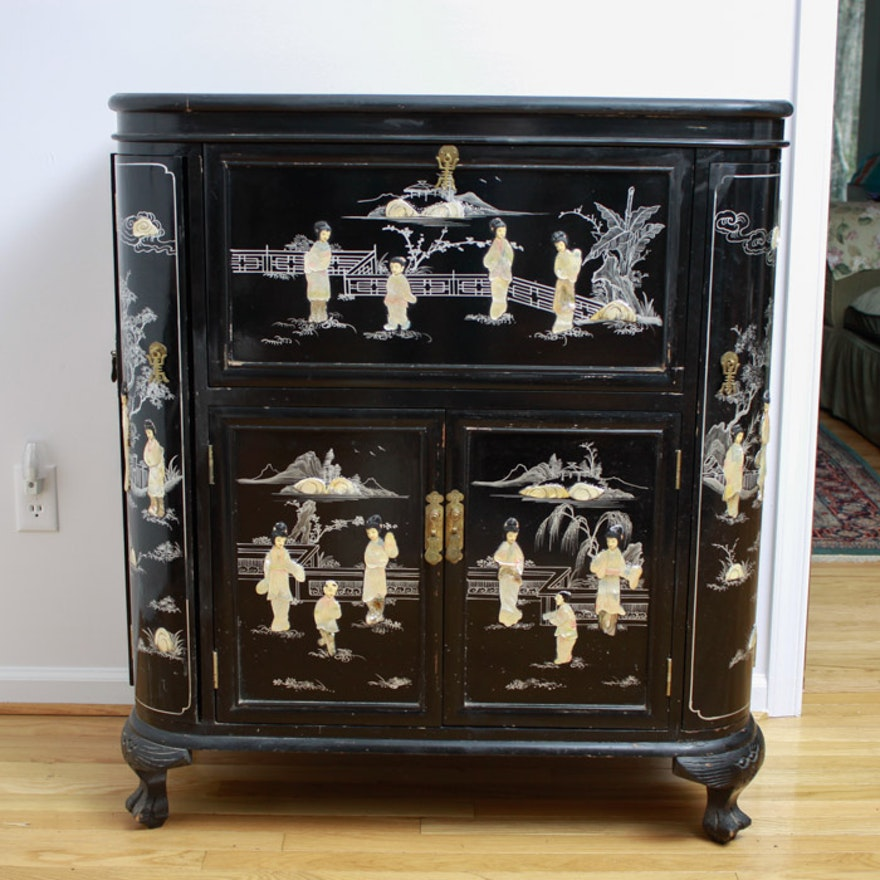 Chinese Black Lacquer Bar Cabinet