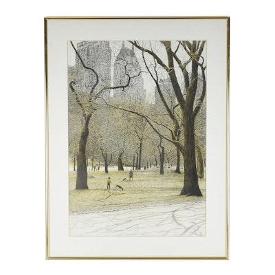 "Harold Altman Offset Lithograph ""Central Park South"""