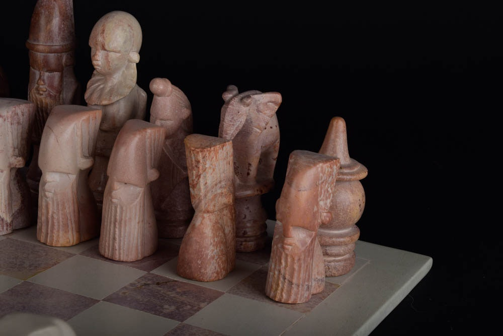 Carved Soapstone African Chess Set Ebth